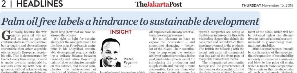 the jakarta posta paganini palm oil sdgs sustainability