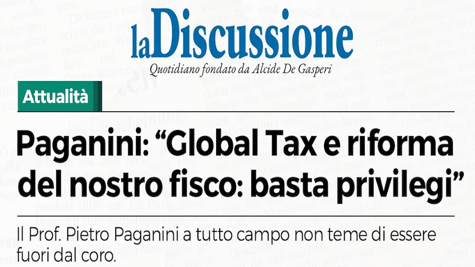 Global Tax e Privilegi pietro paganini La Discussione De Gasperi paganini non ripete vaccini.